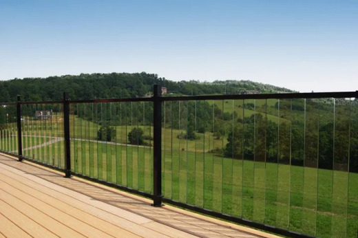 """Gloss Black Fe26 with Glass Inserts & 2"""" Posts overlooking a valley"""